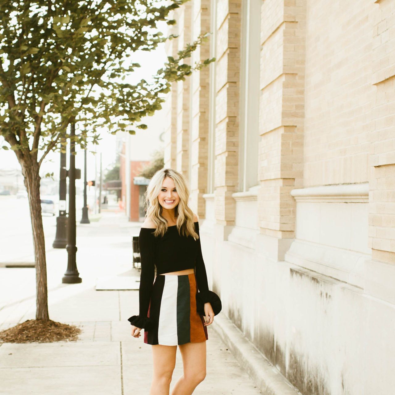 Cropped Sweater and Striped Suede Skirt