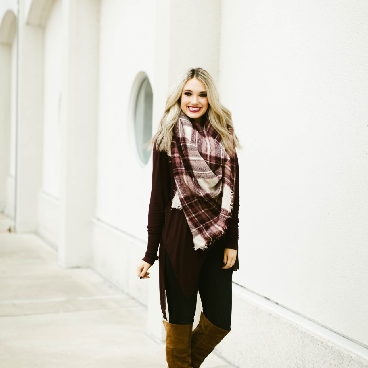 Maroon Top and Blanket Scarf