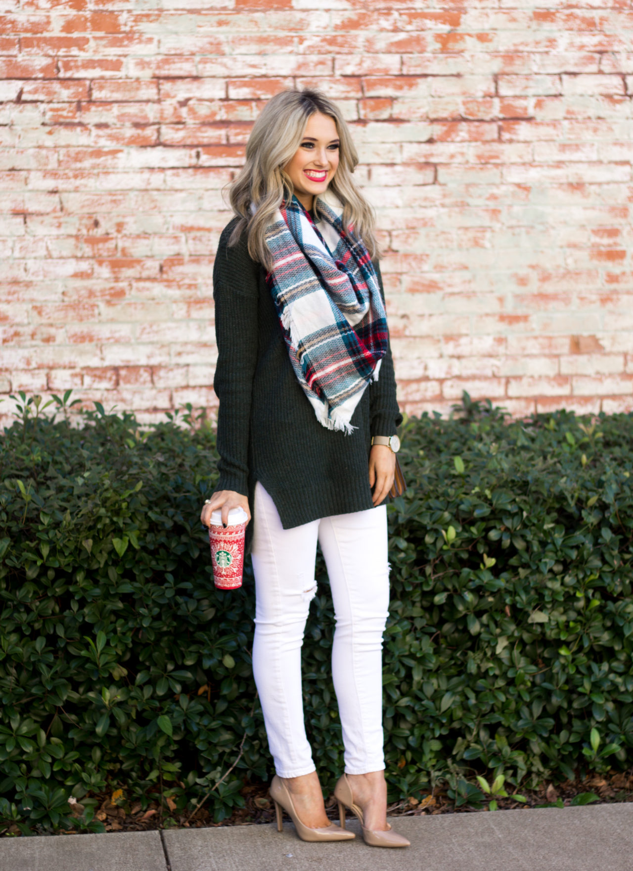 red and green plaid blanket scarf