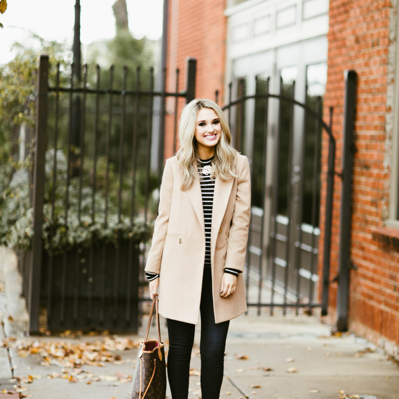 Striped Top and Trench Coat