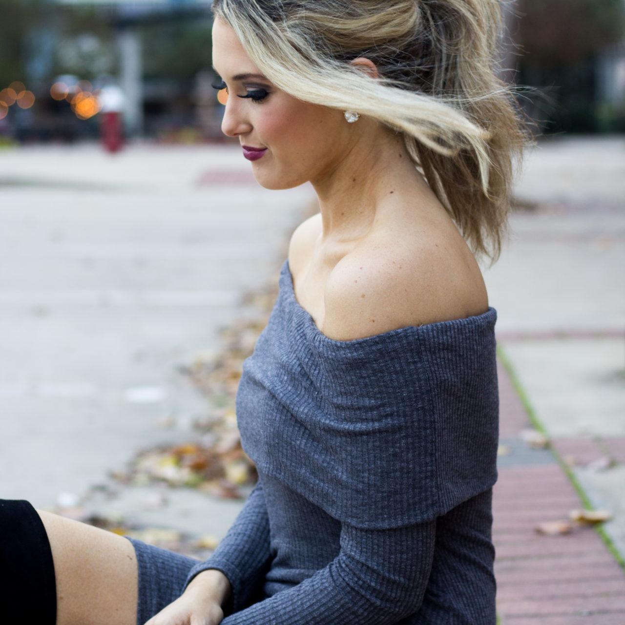 Grey Off-the-Shoulder Dress & OTK Boots