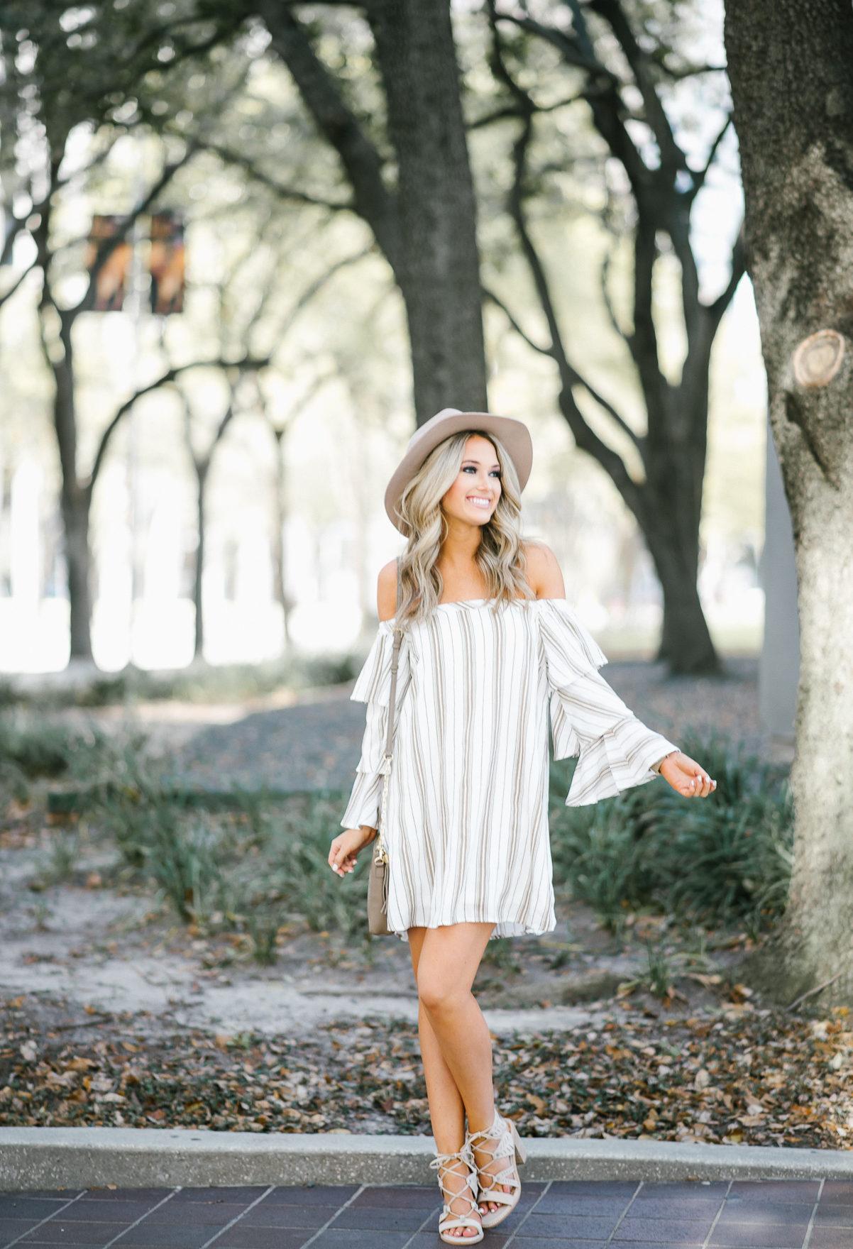 Beige & White Striped Dress