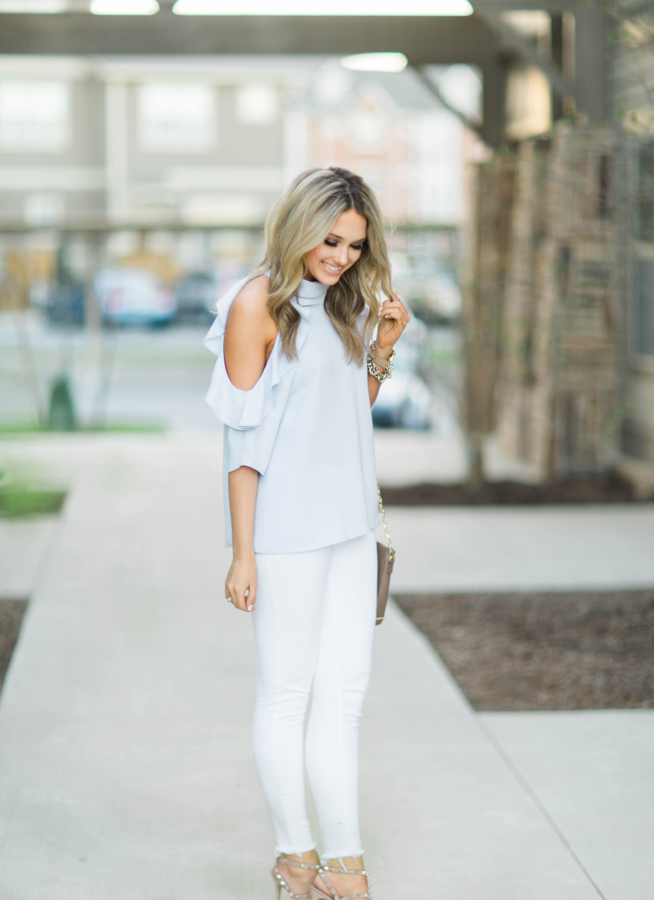 Cold Shoulder Ruffle Top + Valentino Dupes