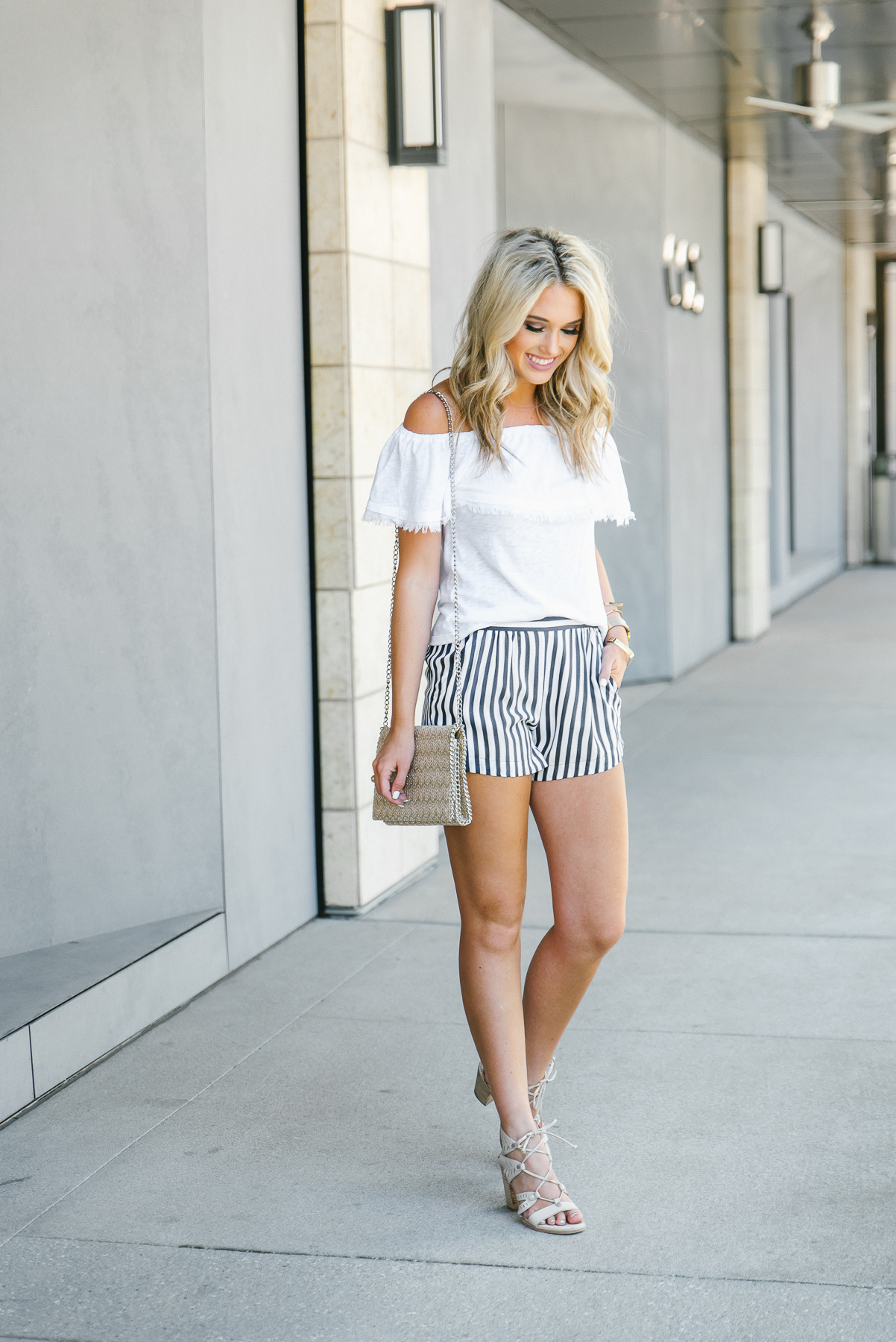 white off the shoulder navy and white striped shorts