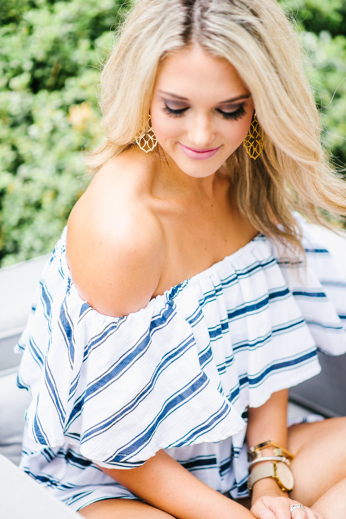 navy and white striped romper