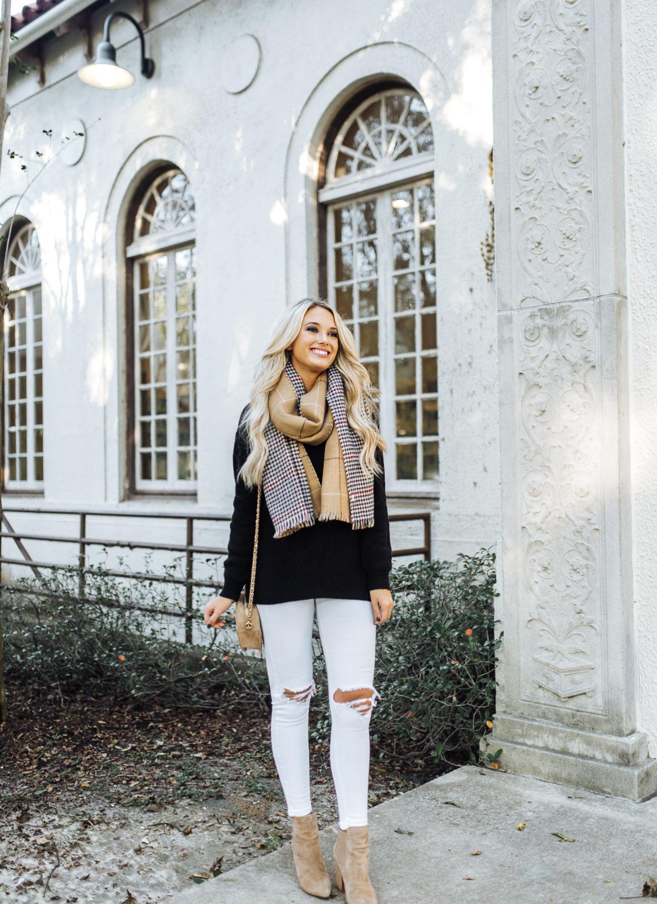 Black Sweater & Blanket Scarf