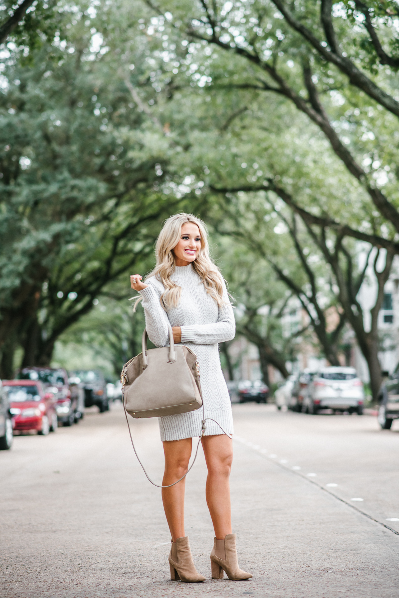 sweater dress and booties