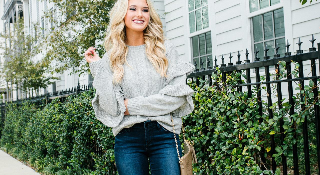 Grey Ruffle Sweater & OTK Boots