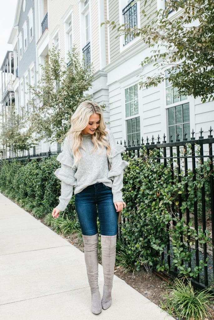 grey ruffle sweater