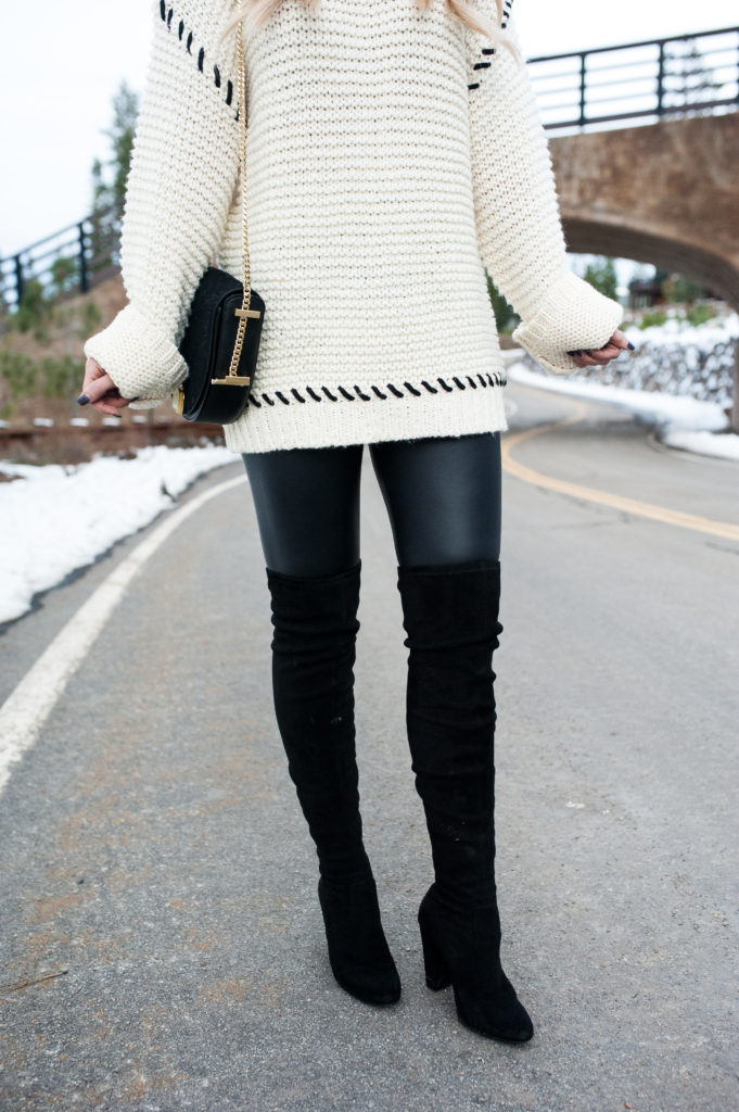 sweater and OTK boots