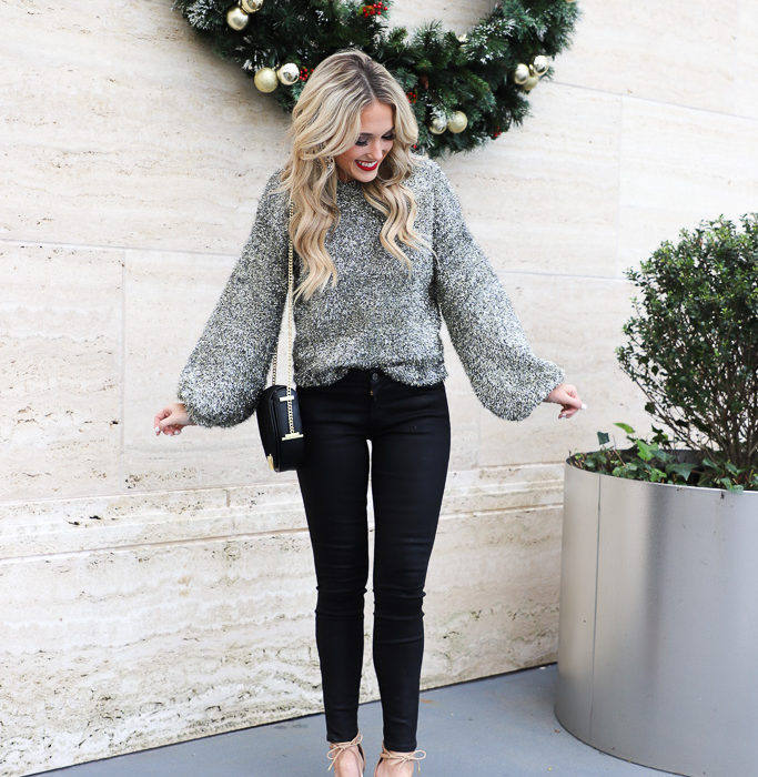 Black Coated Jeans and Silver Sweater