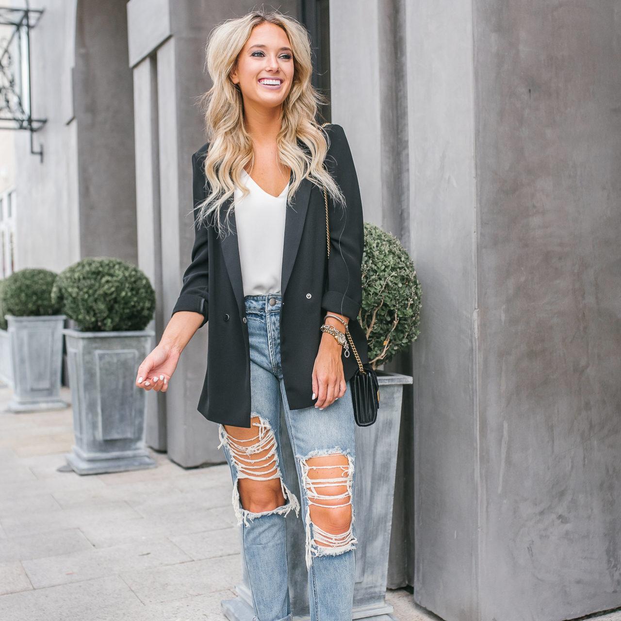 Blazer & Ripped Jeans